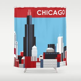 Chicago, Illinois - Skyline Illustration by Loose Petals Shower Curtain