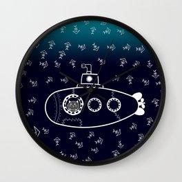 Cat in Submarine Wall Clock