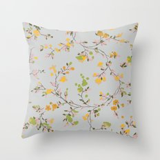 vintage floral vines - spring colors Throw Pillow