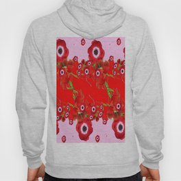 RED SPRING ANEMONE  GARDEN ABSTRACT FLORAL Hoody