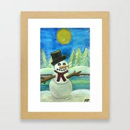 Sun-Kissed Snowman Framed Art Print