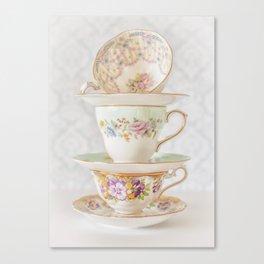 Vintage Tea Cups Canvas Print