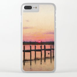 Sunset In Downtown Chincoteague II Clear iPhone Case