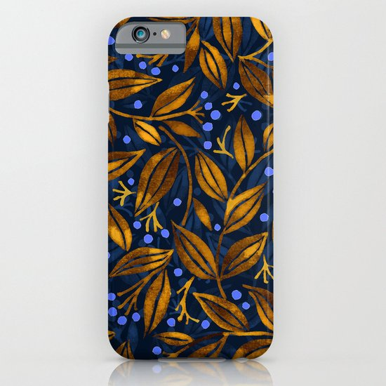 BLUE BERRIES GOLDEN LEAVES iPhone & iPod Case