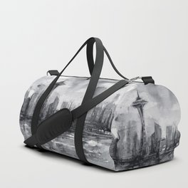 Seattle Skyline Painting Watercolor Black and White Space Needle Duffle Bag