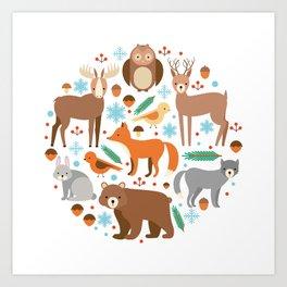 Cartoon Cute Animals Art Print