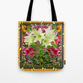 YELLOW BUTTERFLIES ASIAN LILY FLOWERS FLORAL ART Tote Bag