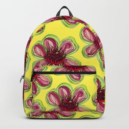 Geraldton Wax Flowers on Yellow - Australian Native Flower Backpack