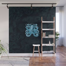 Octopus1 (Blue, Square) Wall Mural