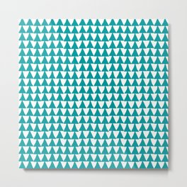 Triangle Arrow Pattern: Teal Metal Print