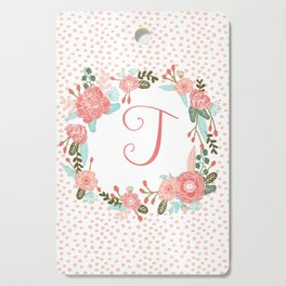 Monogram T - cute girls coral florals flower wreath, coral florals, baby girl, baby blanket Cutting Board