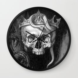 Skull Crowned with Snakes and Flowers by Henry Weston Keen Wall Clock