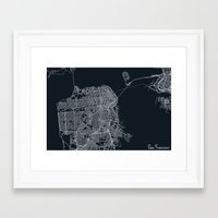 san francisco map Framed Art Prints featuring San Francisco Map by chiams