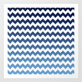 blue ombre ikat cheveron Art Print