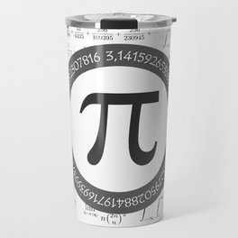 The Pi symbol mathematical constant irrational number, greek letter, and many formulas background Travel Mug