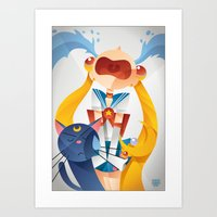 sailormoon Art Prints featuring Crying Sailor Moon by Claudio Bandoli