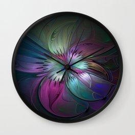 Abstract Colorful Fractal Art Wall Clock