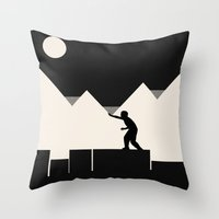 climbing Throw Pillows featuring Climbing out by Tammy Kushnir