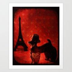 A Poodle in Paris Art Print