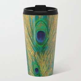 """""""Turquoise and golden peacock"""" Travel Mug"""