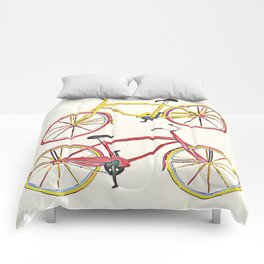 Illustration Bicycle Low Poly Style Comforters