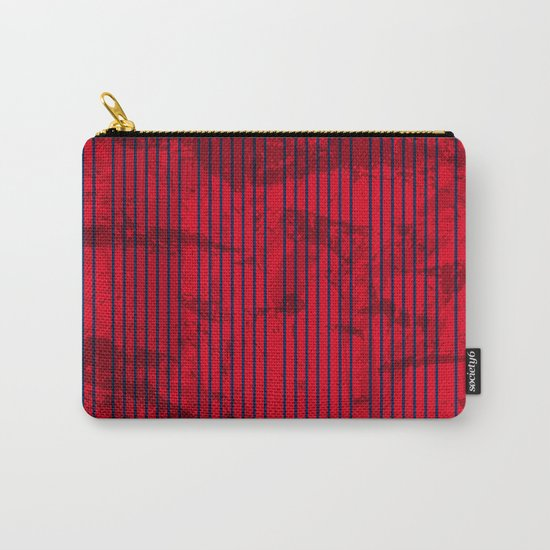 Grunge Blue stripes on bold red background Carry-All Pouch