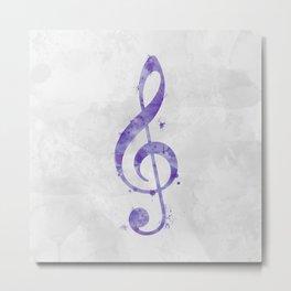Violet Purple Watercolor Treble Clef Metal Print
