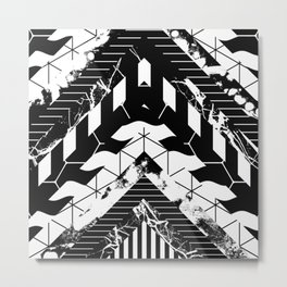 Layered (Black and white, abstract, geometric designs) Metal Print