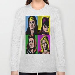 Retro Superheroine Pop Art Long Sleeve T-shirt