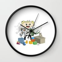 pacific rim Wall Clocks featuring Baby Pacific Rim by Bady Church