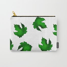 Eco green leaves pattern on white background Carry-All Pouch