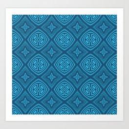 Ultra HD Blue Contemporary Magick Pattern Art Print