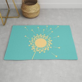 Yellow Dandelion Hearts On Teal Background Rug