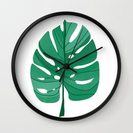 Monstera Leaf Tropical Illustration Wall Clock