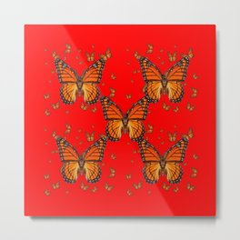 ORANGE MONARCH BUTTERFLIES RED MODERN ART MONTAGE Metal Print