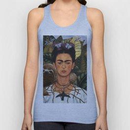Frida Kahlo Self Portrait with a Sloth Unisex Tank Top
