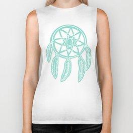 Turquoise Dreamcatcher Printmaking Art Biker Tank