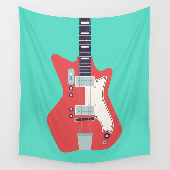 Retro 60s Guitar - Aqua Wall Tapestry