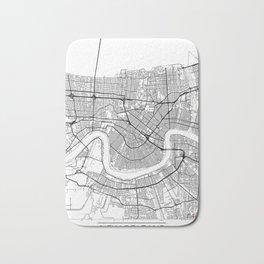 New Orleans Map White Bath Mat