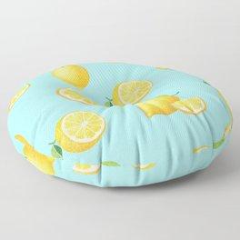 Lemons on Blue Floor Pillow