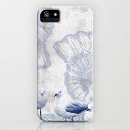 Sea gull ocean mixed media art iPhone Case