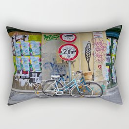 Bicycles and Street Art in Budapest's Old Jewish Ghetto Rectangular Pillow
