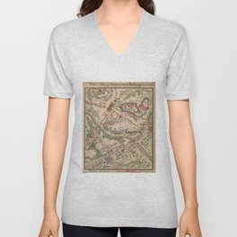 Vintage Map of The Battle of Chantilly (1865) Unisex V-Neck