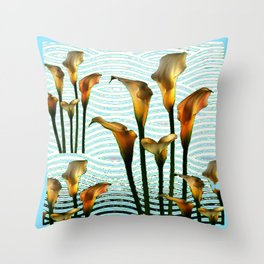 Blue Swamp Calla Lilies Throw Pillow