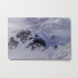 Hiking on top of The World Metal Print