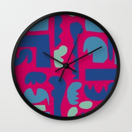 African Art Pattern on Rubine Red Wall Clock