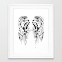 lions Framed Art Prints featuring Lions by Libby Watkins Illustration