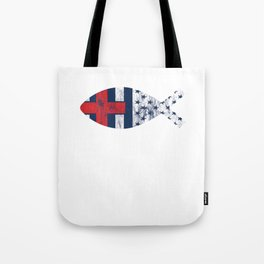 Vintage Distressed USA Flag Christian Fishing Tote Bag