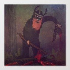 Viking preparing a meal Canvas Print