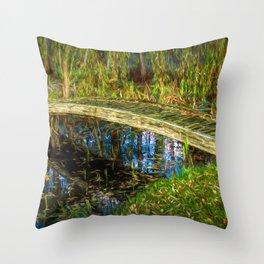 Bridge over calm water by Brian Vegas Throw Pillow